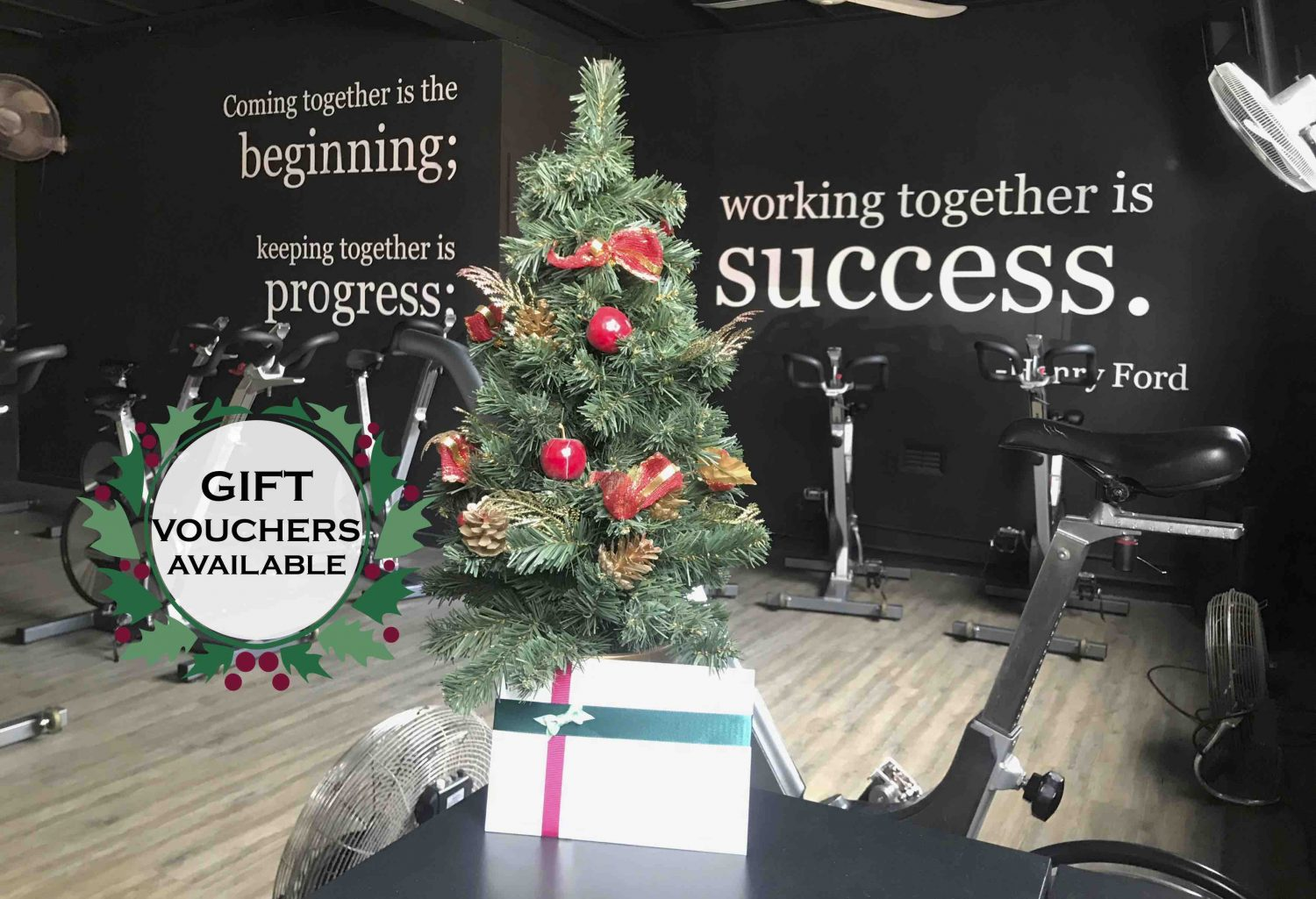 christmas tree with gift vouchers for personal training